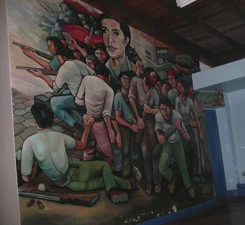 8  Academia de Policia MANAGUA, barricada con retrato de WALTER MENDOZA, cm.350x350, cod.n.54
