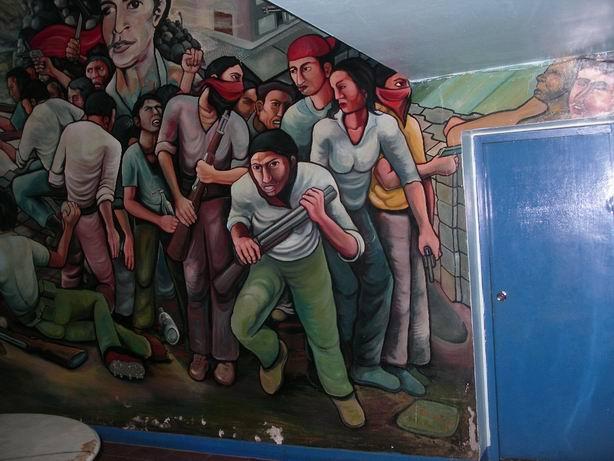 9Academia de Policia MANAGUA, barricada con retrato de WALTER MENDOZA, cm.350x350, cod.n.54