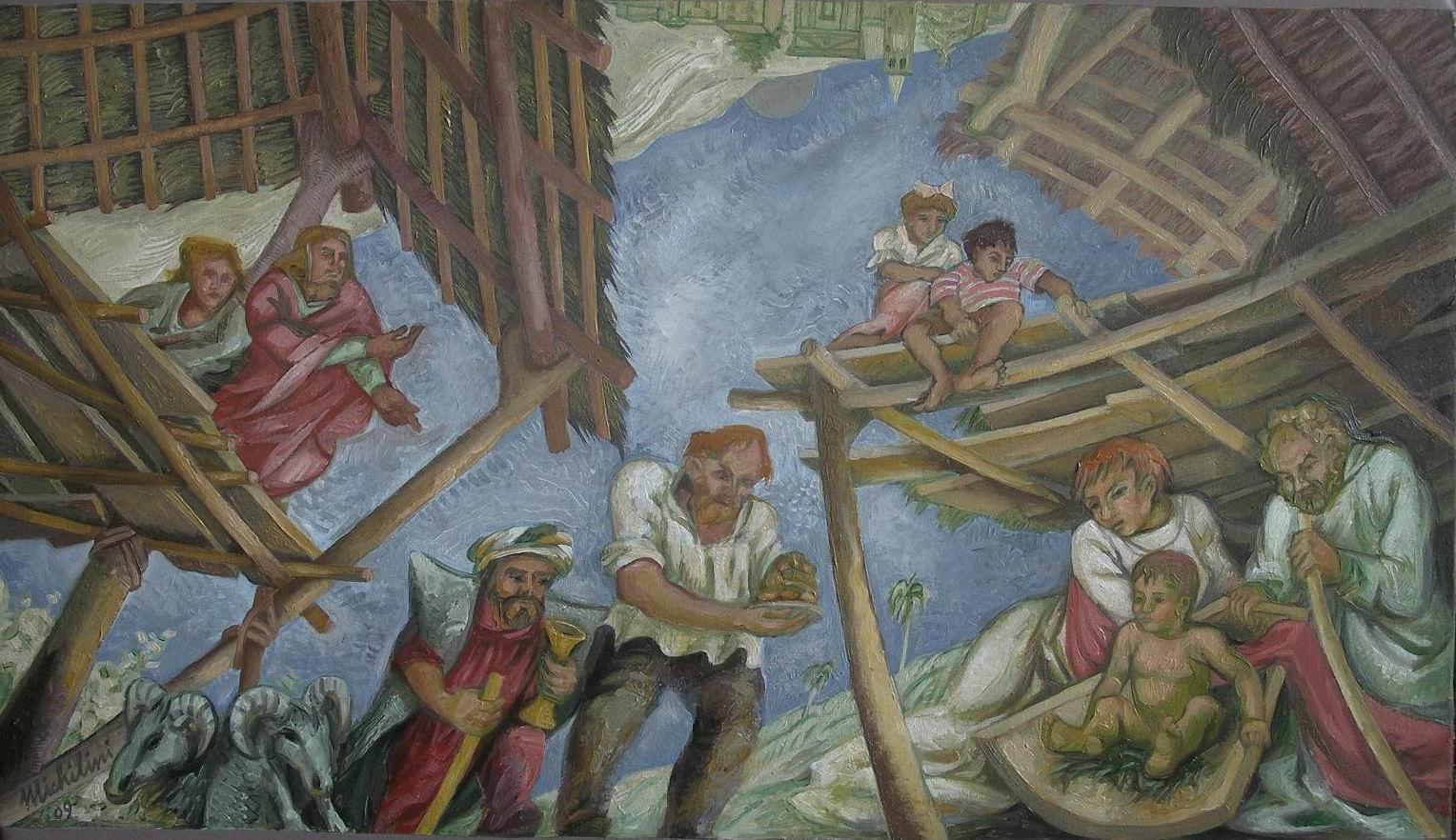 Sergio Michilini,2009, NATIVITA', olio su tela, cm.60x80, studio policromia per affresco sulla volta della Chiesa Parrocchiale di San Martino al Tagliamento, Udine.