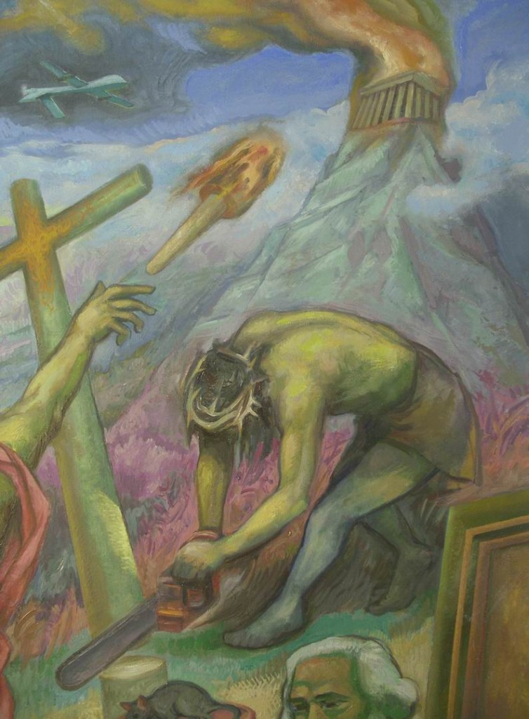 """Michilini, """"¿QUE HACER?"""", 2012, detalle, desde arriba: un DRONE, la ANTORCHA DEL CONOCIMIENTO, el OLIMPO, CRISTO DESTRUYE LA CRUZ"""