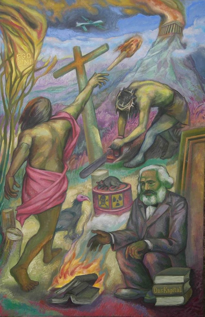 """Michilini, """"¿QUE HACER?"""", Panel derecho: EL COLAPSO DE LOS CONOCIMIENTOS, 2012, olio sobre tela, cm 122x80"""
