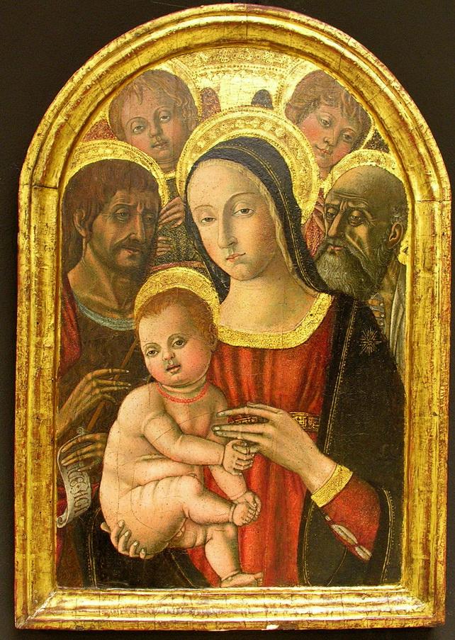 Matteo Di Giovanni 1495 - Madonna con bambino tra angeli e santi.. 1470 tempera su tavola 60 x40
