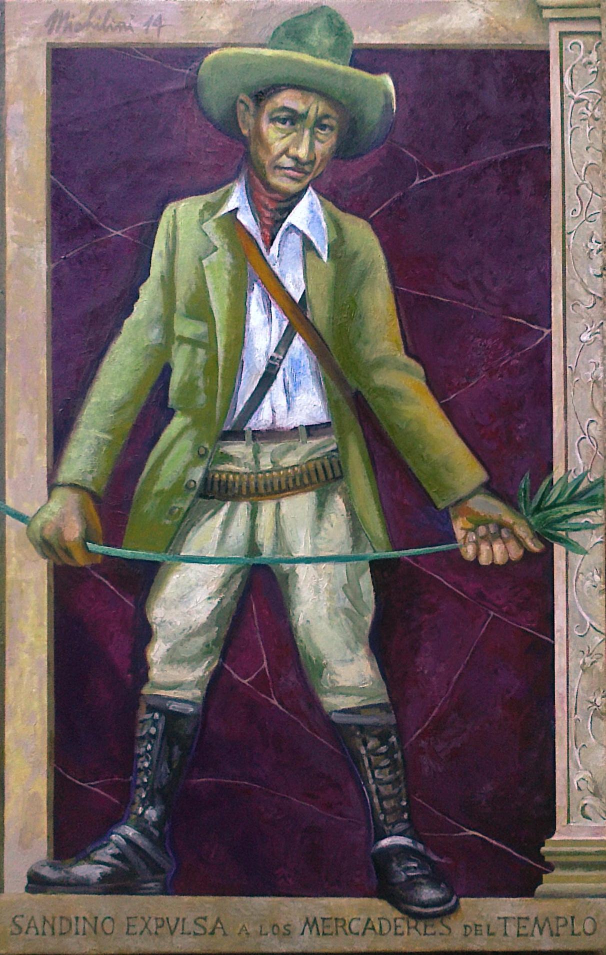 Sergio Michilini, SANDINO EXPULSA A LOS MERCADERES DEL TEMPLO, 2014, oleo sobre tela, cm.110x70