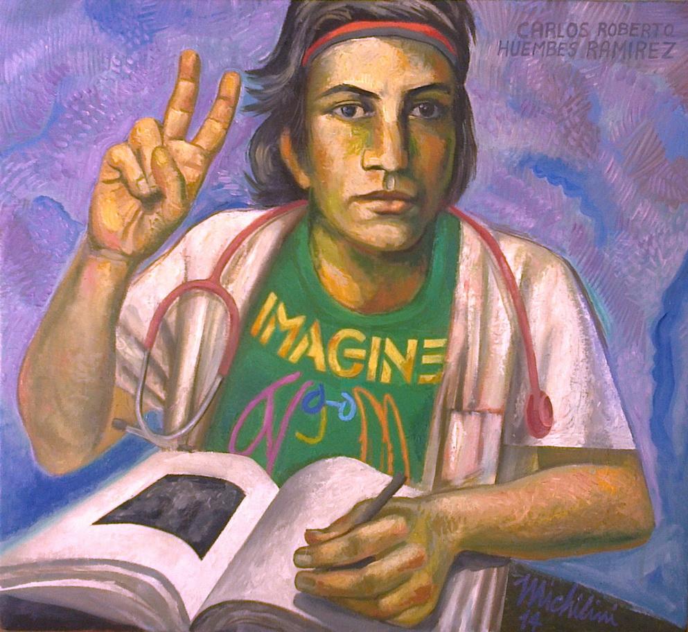 Sergio Michilini, CARLOS ROBERTO HUEMBES RAMIREZ – IMAGINE, 2014, olio su tela, cm64x70