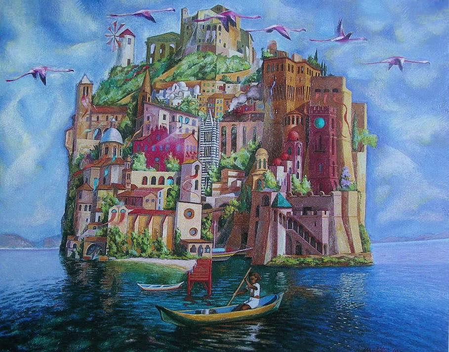 Michilini, ISOLA NELLA LAGUNA, 2001, olio su tela, cm.80×100