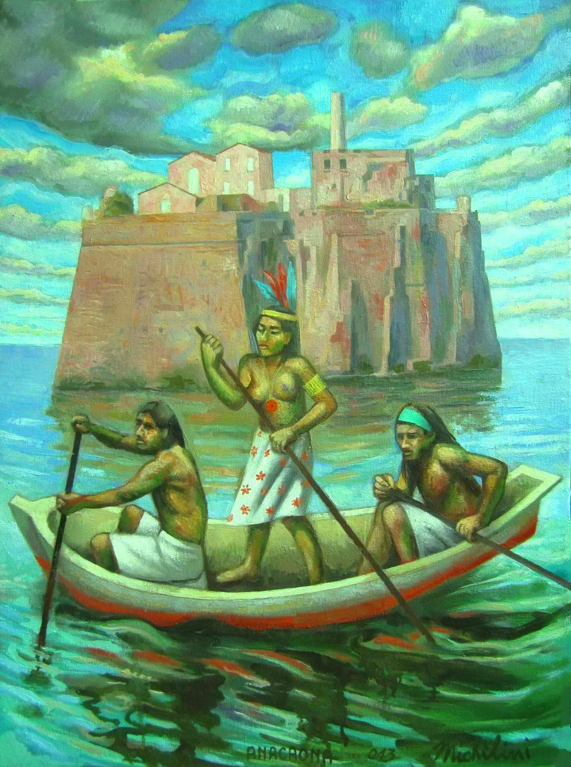 Sergio Michilini, LA ISLA DE LOS ESCLAVOS (L'isola degli schiavi), 2013, oleo sobre tela, cm.70×52