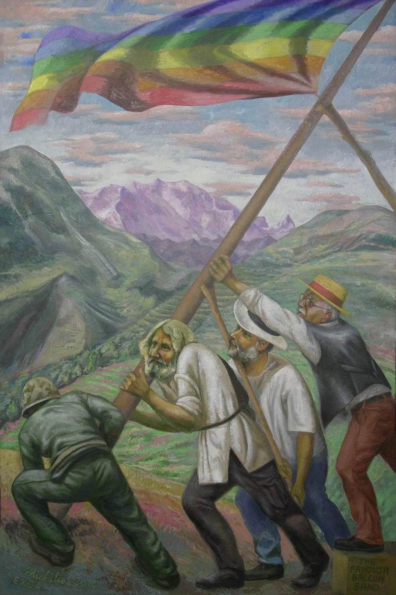 Sergio Michilini, THE FAMOUSA BALCON BAND, 2012, olio su tela, cm.122×80