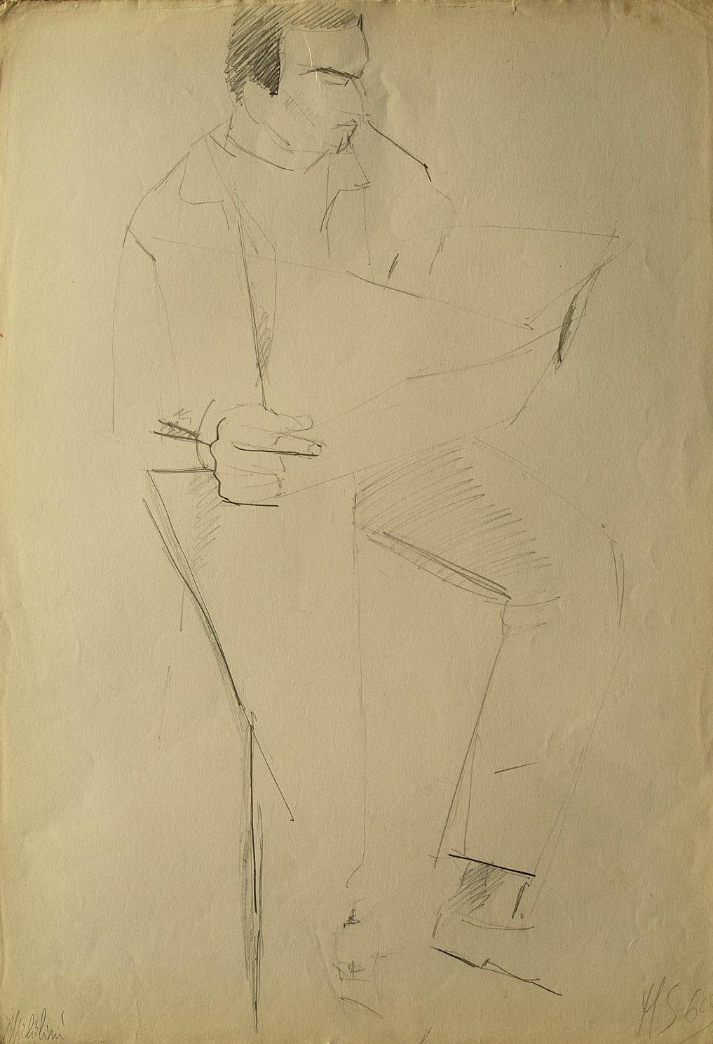 Sergio Michilini, PORETTI ERMINIO, 1969, cm.50x35