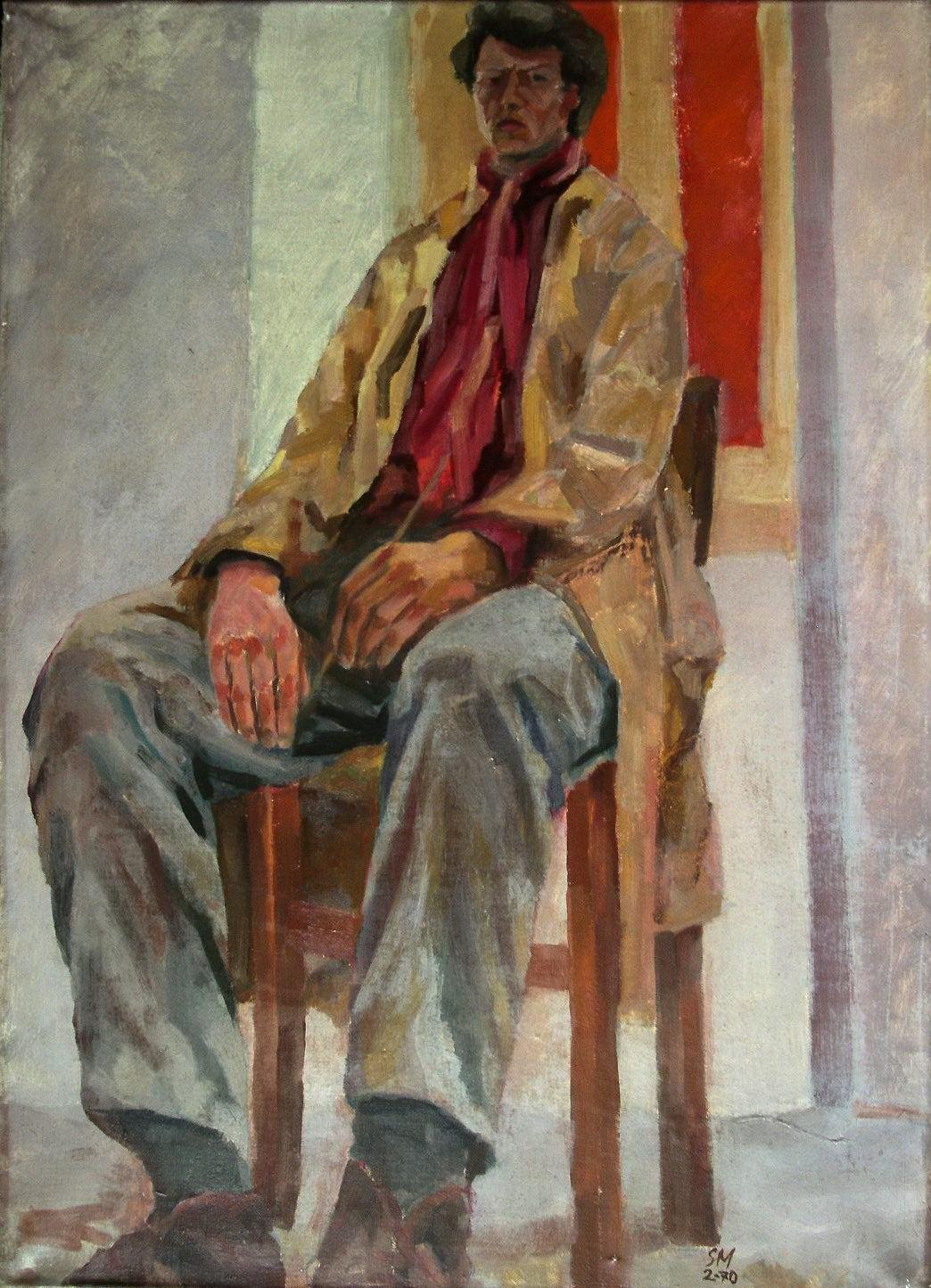Sergio Michilini,  AUTORITRATTO SEDUTO CON FINESTRA ROSSA, 1970, olio su tela,  cm.70X50