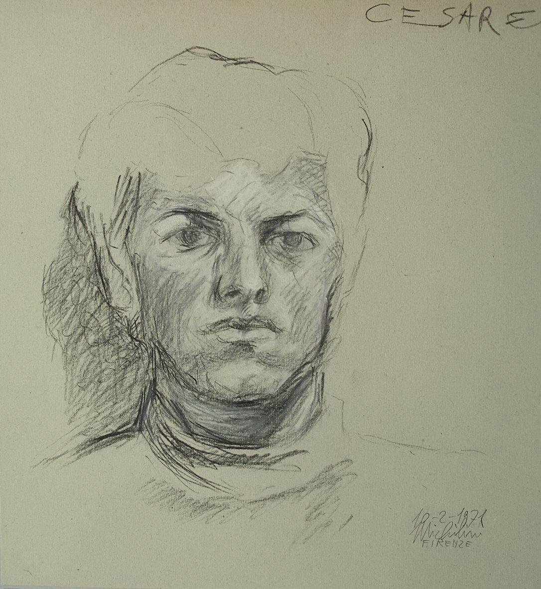 Sergio Michilini, RITRATTO DI CESARE, 1971, cm.26x24