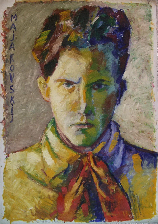 Michilini, MAJAKOVSKIJ, 1973, olio su carta, cm.100x70