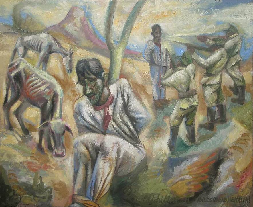Sergio Michilini, ¡DILES QUE NO ME MATEN! (Juan Rulfo. El llano en llamas),2011, oleo sobre tela, cm50x61