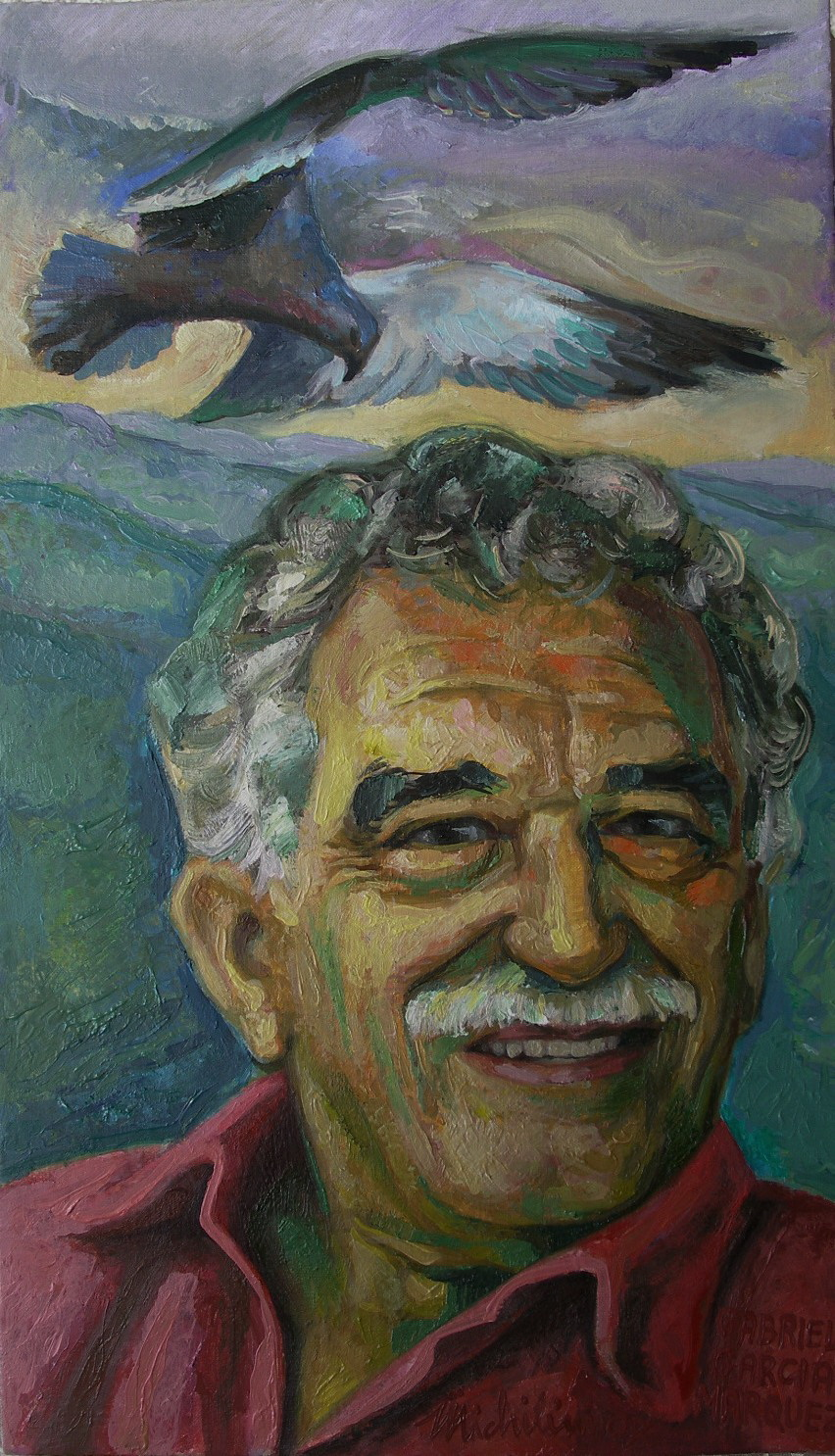 Sergio Michilini, GABRIEL GARCIA MARQUEZ, 2007, cm.60x35, olio su tela