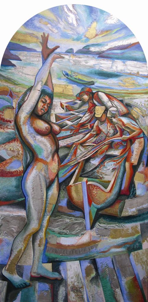 Sergio Michilini, SOGNO DELL'ALBA IN PONTA NEGRA, 2001, olio su tela su MDF, cm.212x102