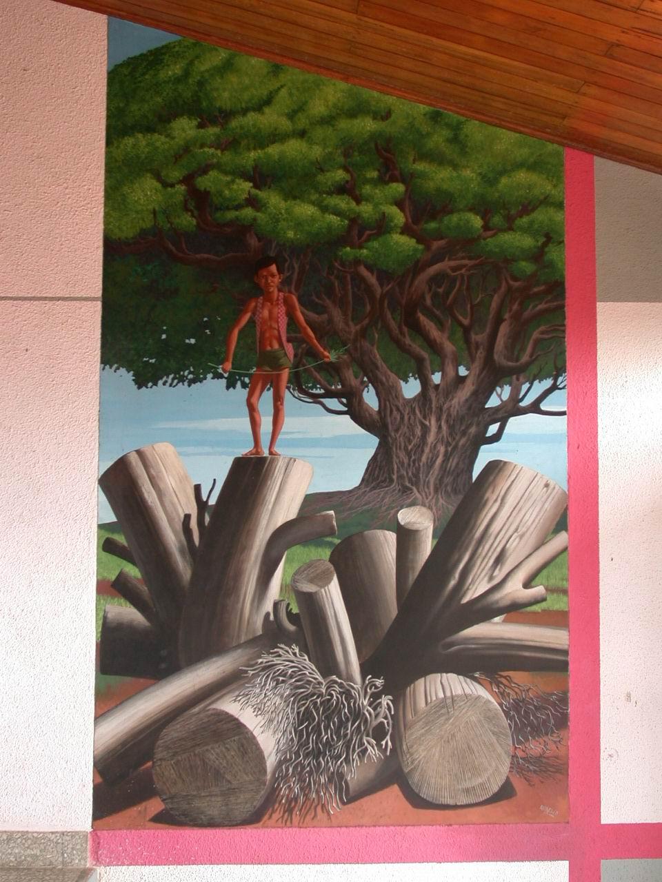 Detalle de una pintura mural del Maestro AURELIO C. en el CEMOAR, Managua, Nicaragua