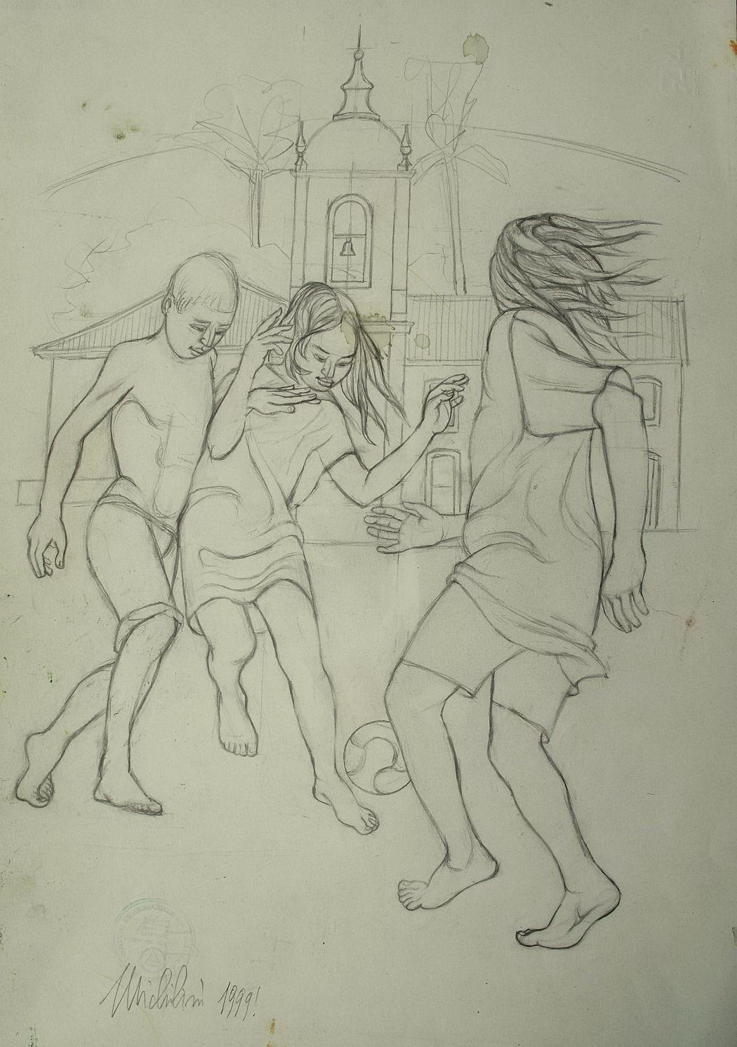 Sergio Michilini, BAMBINI CHE GIOCANO A PARATY, 1999, disegno, cm.48x33