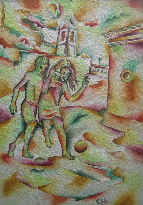 Sergio Michilini, PARATY, 2000, tempera su carta, cm.50x35