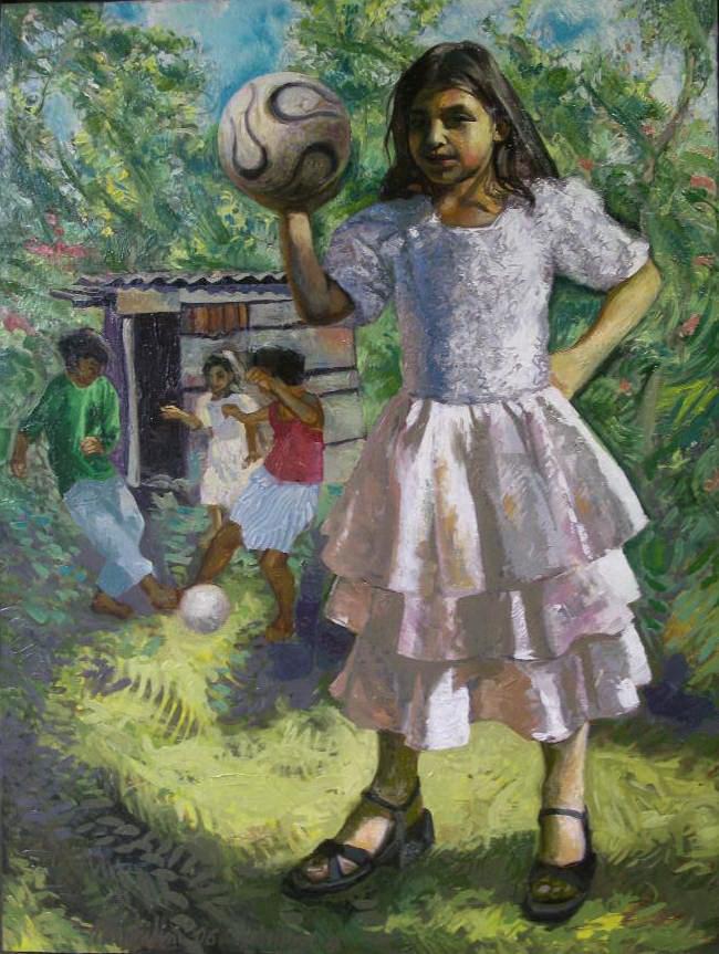 Sergio Michilini, MONDIALI A MONTEFRESCO, 2006, olio su tela, cm.80x60