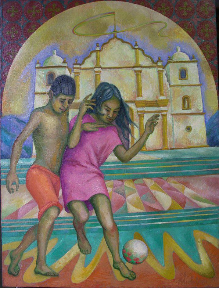 Sergio Michilini, BAMBINI DAVANTI ALLA CATTEDRALE DI BOACO, 2006, olio su tela, cm.80x60