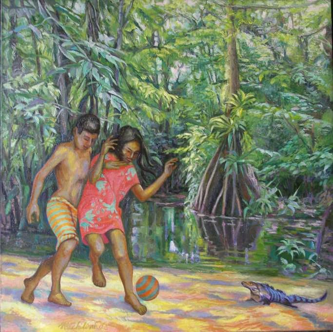 Sergio Michilini, BAMBINI CHE GIOCANO NELLE PALUDI DI LOS GUATUSOS, 2006, olio su tela,  cm.80x80
