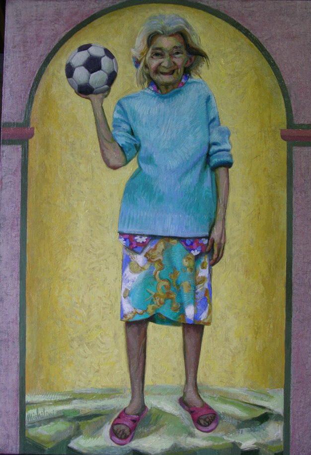 Sergio Michilini, DONNA SOFIA FESTEGGIA IL MONDIALE, 2006, olio su tela, cm.80x55