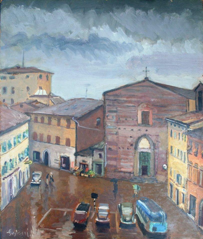 """Antonio Luigi Gajoni,  """"Piazza del Popolo"""", olio su masonite 1959-60"""