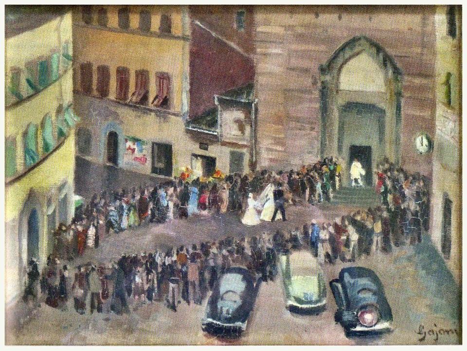 """Antonio Luigi Gajoni, """"Matrimonio a San Domenico"""", olio su tela 1950 (?), insieme"""