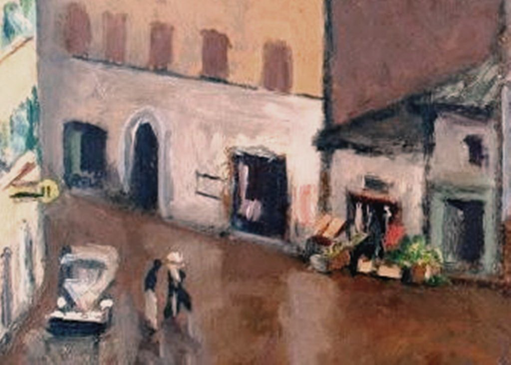 """Antonio Luigi Gajoni, particolare del dipinto """"Piazza del Popolo"""", olio su masonite 1959-60"""