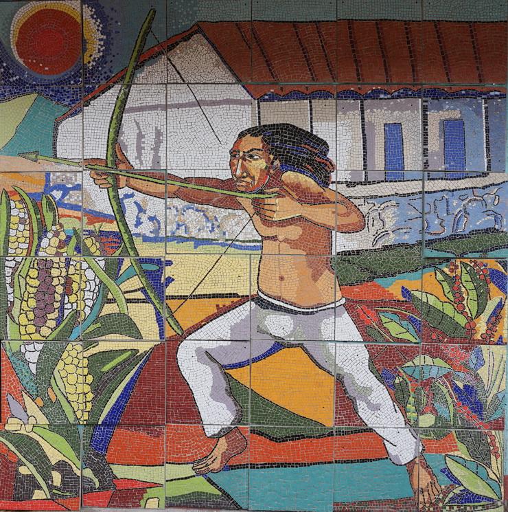"""Ricardo Antonio Gómez, INDIO FLECHERO EN LA BATALLA DE SAN JACINTO, 2014, mosaico de azulejos policromados, cm.300×300, MATAGALPA """"Cancha del Brigadista"""""""