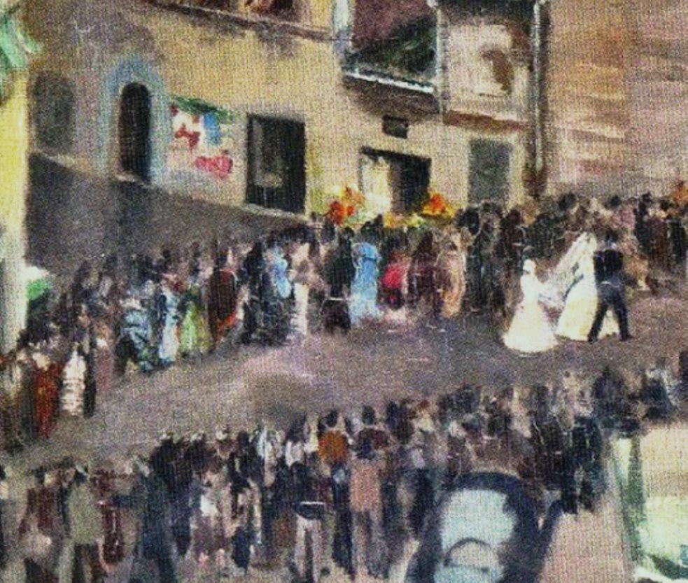 """Antonio Luigi Gajoni, """"Matrimonio a San Domenico"""", olio su tela 1950 (?), particolare."""