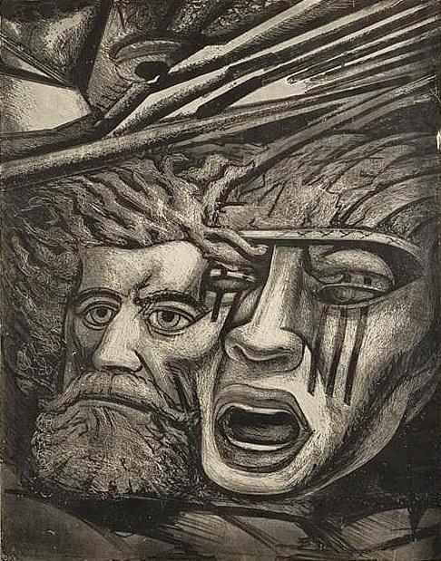 DAVID ALFARO SIQUEIROS, Muerte al invasor, Litografía Firmada y fechada 1946, 73.5 x 57.5 cm