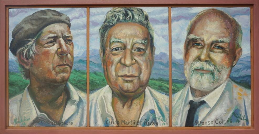Sergio Michilini, LOS POETAS URTECHO, RIVAS Y CORTES, 2014, tríptico, óleo sobre tela, cm.60x120