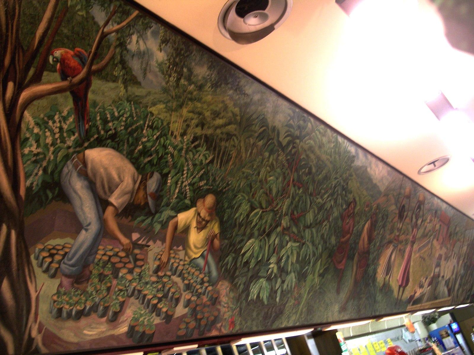 1988-1f    LA STORIA DEL CAFFE'- murale mobile. Centro Commerciale Laghi, Gallarate