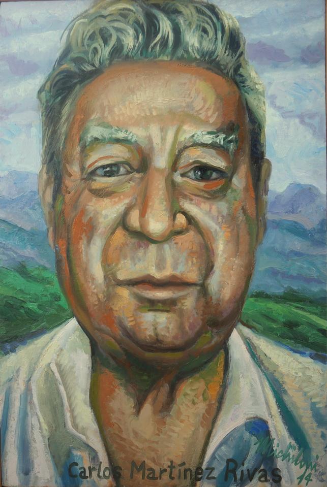 Sergio Michilini, RETRATO DE CARLOS MARTINEZ RIVAS, 2014, óleo sobre tela, cm.60x40