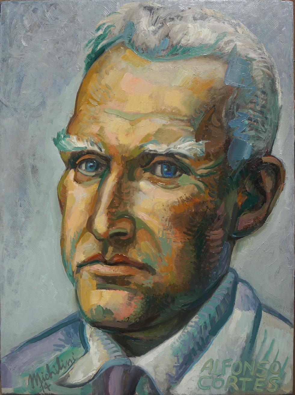 Sergio Michilini, RETRATO BLANCO DE ALFONSO CORTES, 20124, óleo sobre tela, cm.60x45