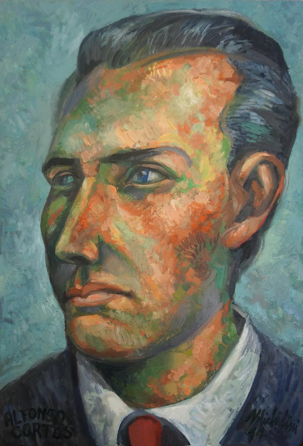 Sergio Michilini, RETRATO DE ALFONSO CORTES JOVEN, 20124, óleo sobre tela, cm.60x40