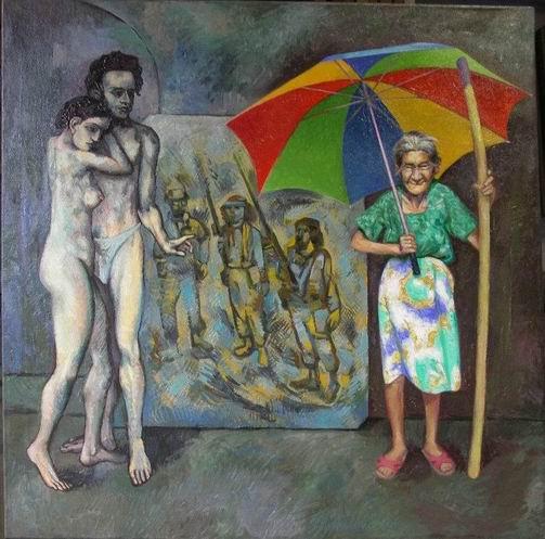 Sergio Michilini, PICASSO,LA RIVOLUCION Y DOÑA SOFIA, 2006, oleo/tela, cm.80×80