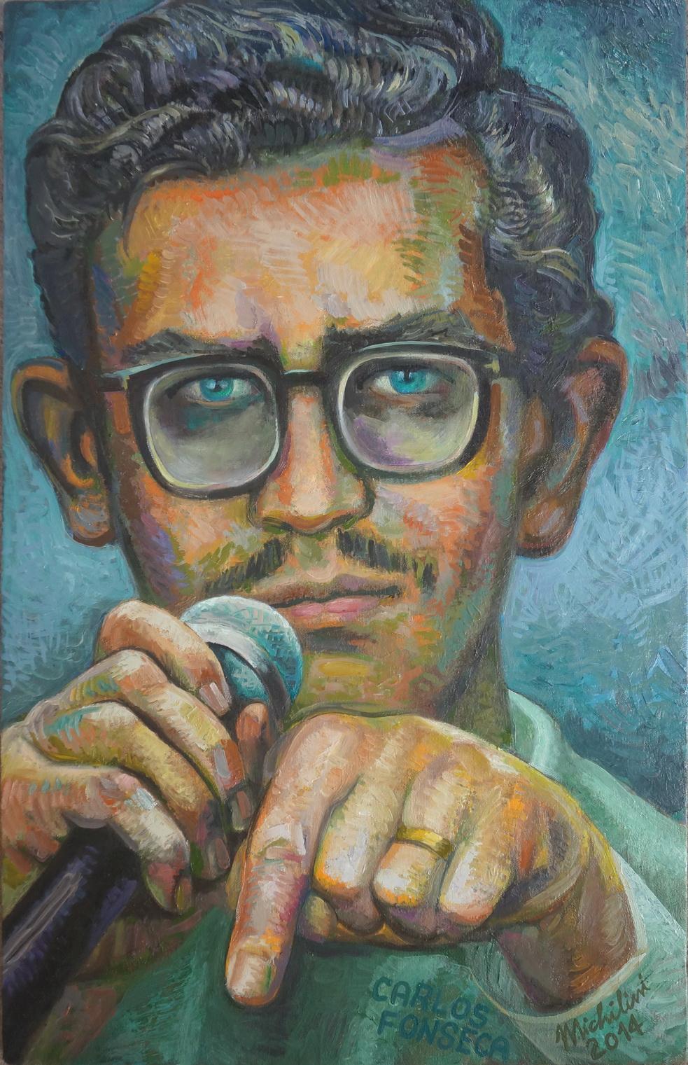 """Sergio Michilini, """"EL JOVEN CARLOS FONSECA"""" 2014, óleo sobre tela, cm.80x50"""