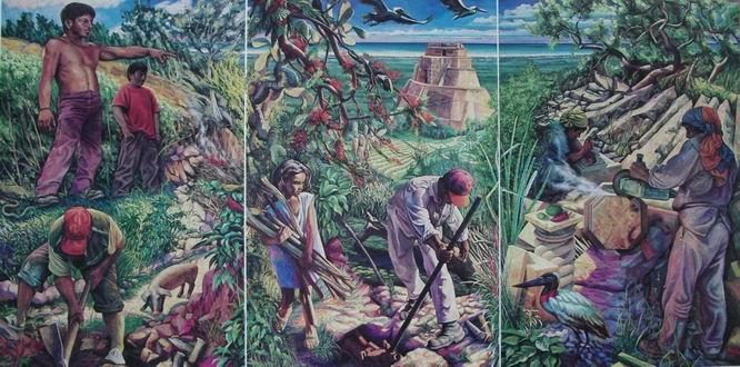 Sergio Michilini, Tríptico mural, PIEDRA Y VIDA EN YUCATAN, 1994, MERIDA, MEXICO, oleo/tela, cm.160×320