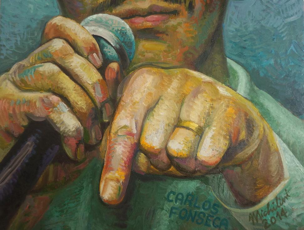 """Sergio Michilini, """"EL JOVEN CARLOS FONSECA"""" 2014, óleo sobre tela, cm.80x50 (detalle)"""