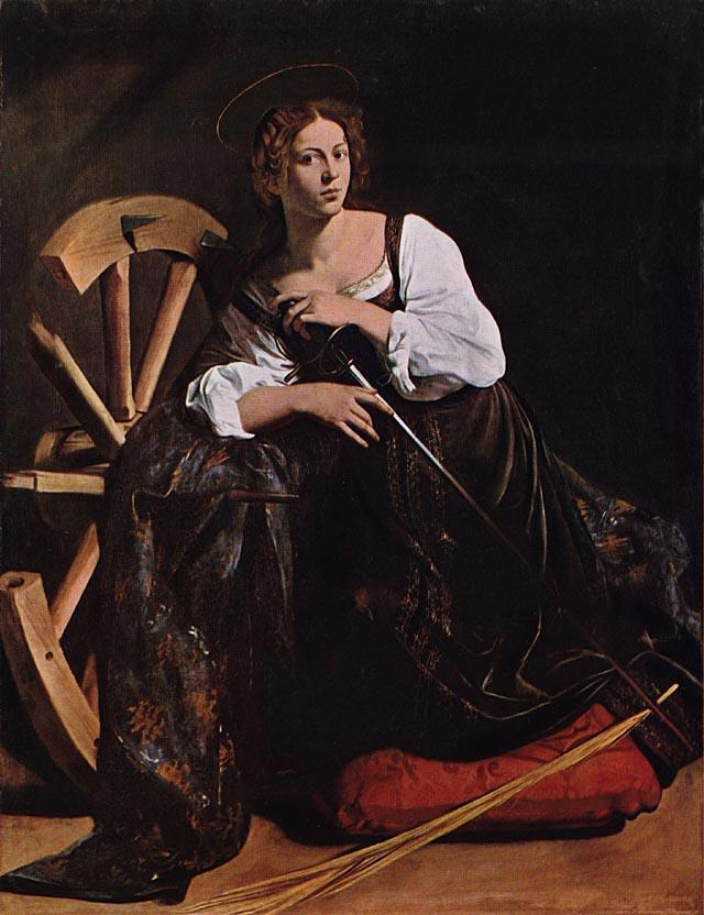 Caravaggio, Santa Caterina d'Alessandria , 1597, olio su tela, cm 173 x 133, Museo Thyssen-Bornemisza di Madrid.