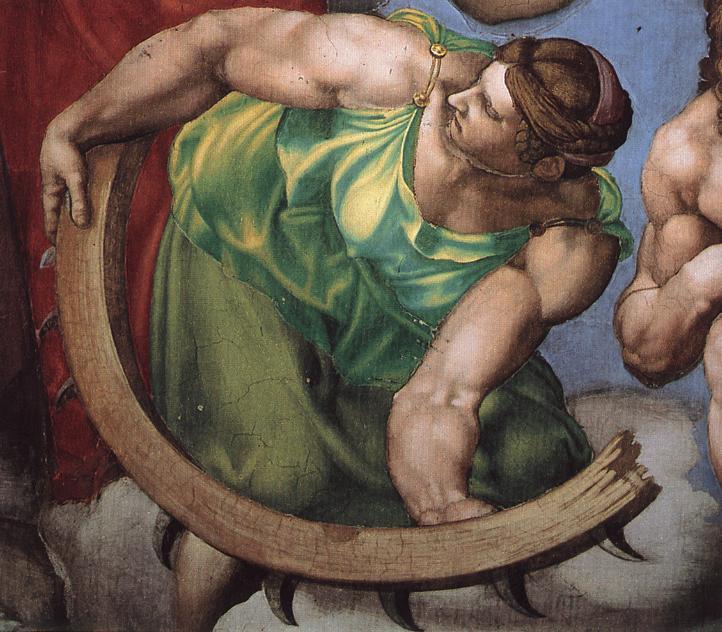 Michelangelo Buonarroti, S. Caterina d'Alessandria, particolare del Giudizio Universale, 1537-41, Cappella Sistina, Vaticano