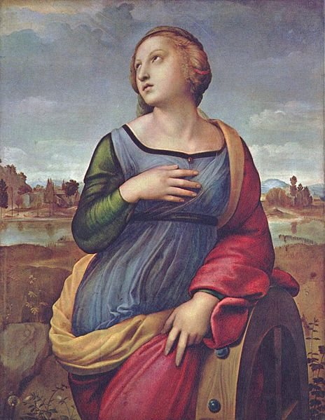 Raffaello Sanzio, Santa Caterina d'Alessandria , 1508, olio su tela, 71 × 53 cm, National Gallery, Londra