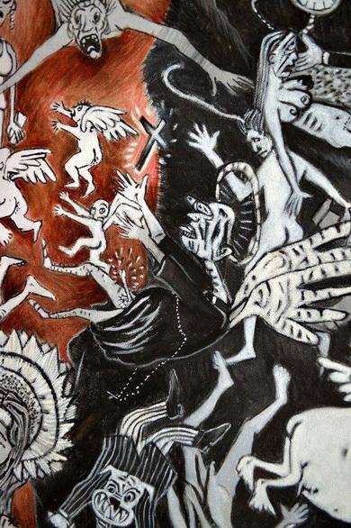Daniel Pulido, IN GOD WE TRUST, 2015, tecnica mixta sobre lienzo, cm. 206 x168 DETALLE