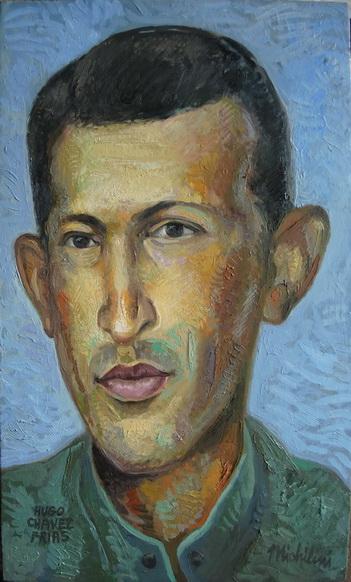 Sergio Michilini, HUGO CHAVEZ JOVEN, 2015, oleo-tela, cm.60x35
