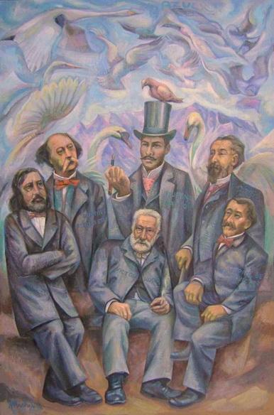 Sergio Michilini, AZUL, 2013, oleo sobre tela, cm.122×80    Rubén Darío con Catulle Mendès, Théophile Gautier, Gustave Flaubert, Paul de Saint-Victor y Victor Hugo. http://blogosfera.varesenews.it/la-bottega-del-pittore/?p=12094