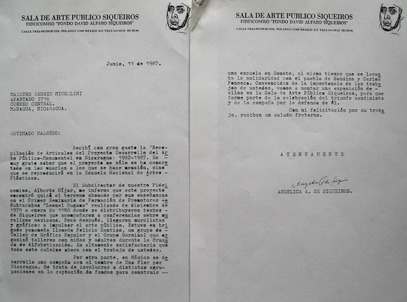 1987 Lettera di Angelica de Siqueiros al Pittore