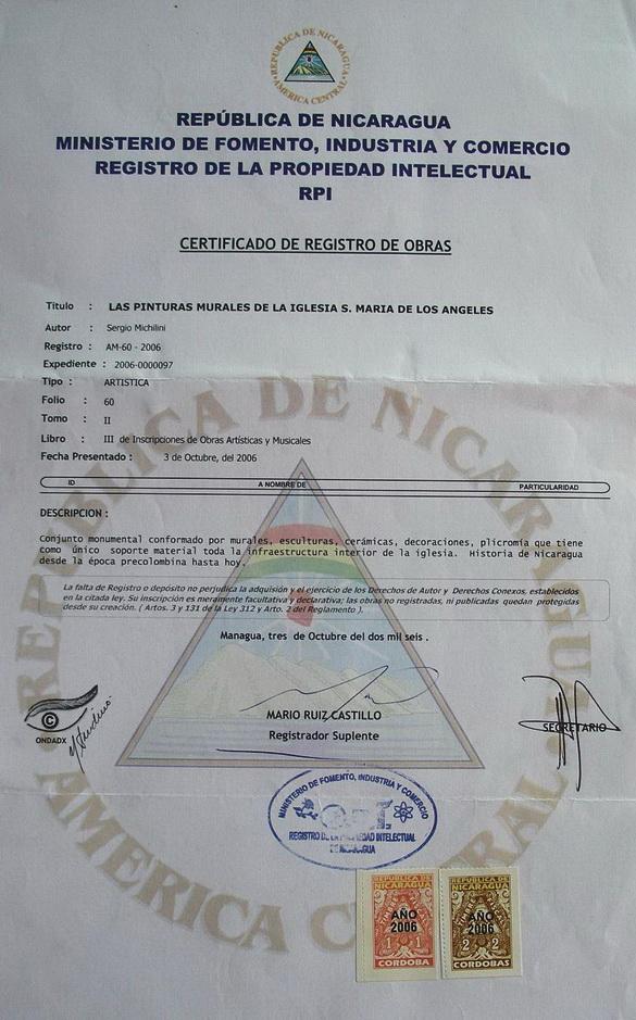 2006 Certificato di Registrazione opere del Riguero