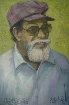 Michilini, EL DR. ALEJANDRO DAVILA BOLAÑOS CON FONDO AMARILLO, 2012, oleo sobre tela, cm.50×34