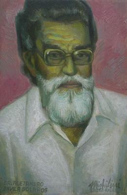 Michilini, EL DR. ALEJANDRO DAVILA BOLAÑOS, 2012, oleo sobre tela, cm.40×26